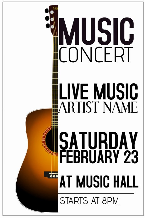 Free Music Poster Templates New Acoustic Guitar Live Music Concert Poster Template