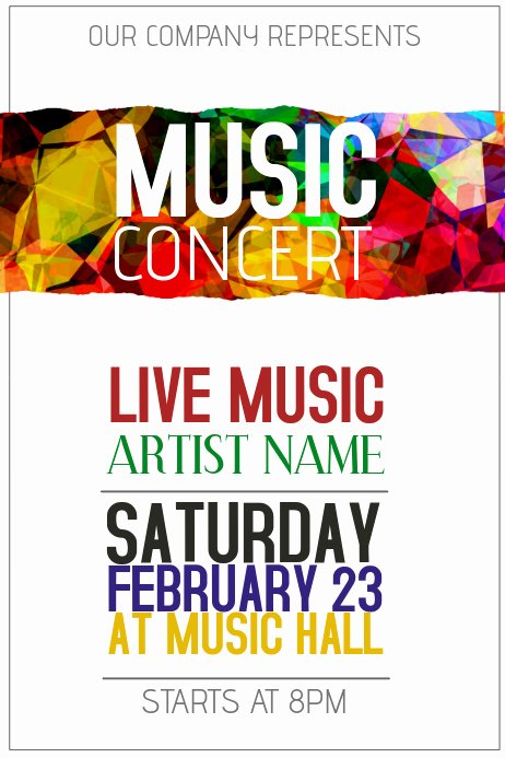 Free Music Poster Templates New Colorful Music Concert Poster Template