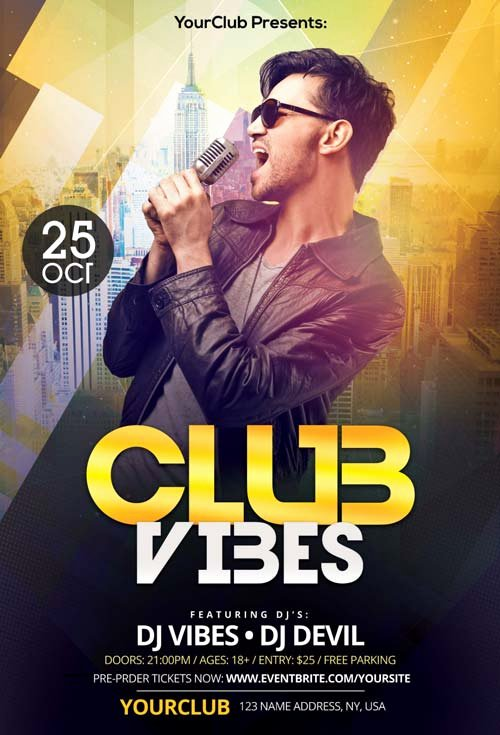 Free Nightclub Flyer Templates Awesome Club Vibes Night Free Psd Flyer Template Free Flyer for Electro Party and Club events