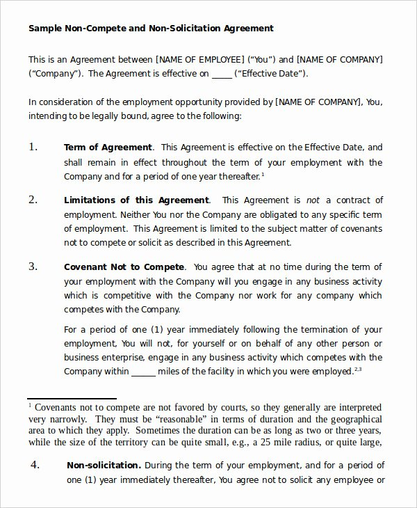Free Non Compete Agreement Luxury Non Pete Agreement Template 12 Free Word Pdf format