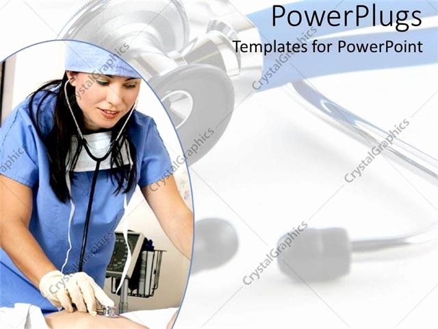 Free Nursing Powerpoint Templates Best Of Powerpoint Template Nurse Hospital Worker with Stethoscope and Scrubs Cares for Patient