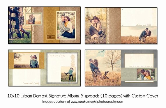 Free Photo Album Template Beautiful Urban Damask 12x12 Digital Wedding Guest Book Template 5