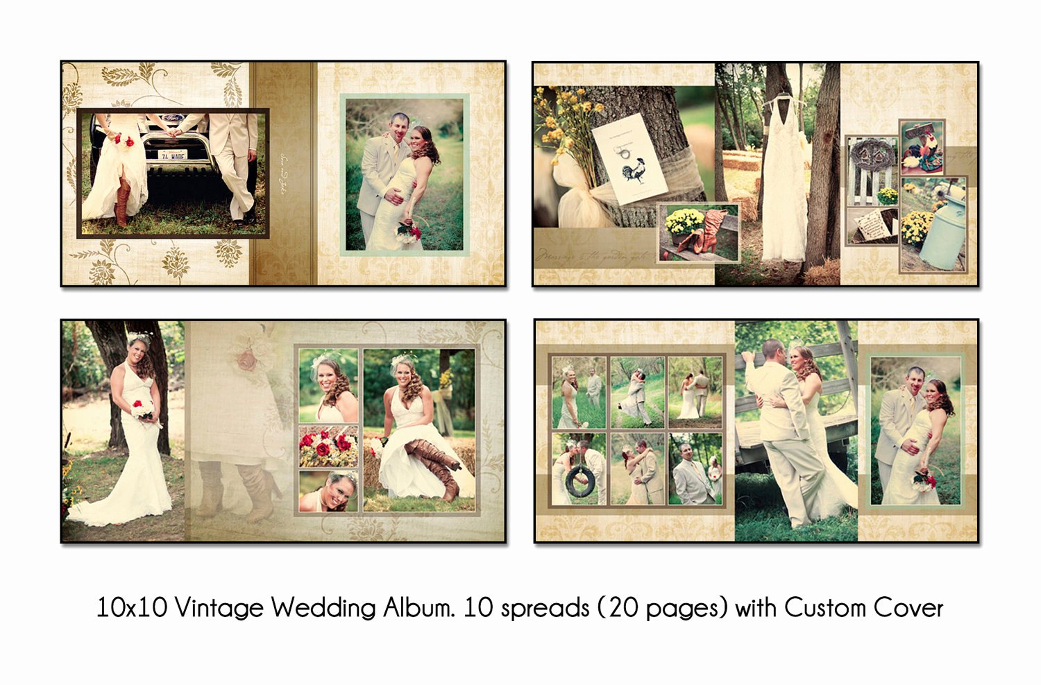 Free Photo Album Template Elegant Vintage 10x10 Album Template 10 Spread20 Page by Katieanndesigns