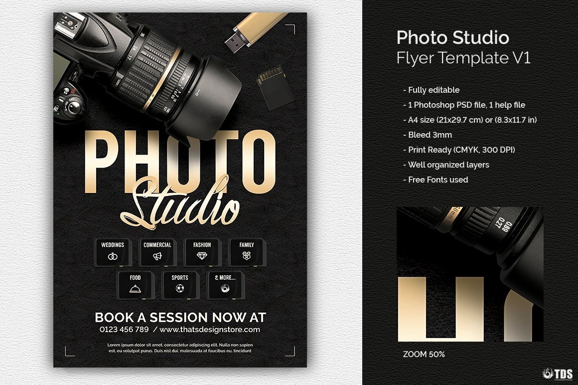 Free Photography Flyer Templates Luxury Studio Flyer Template for Shop Design
