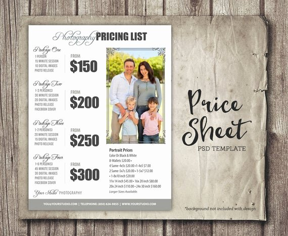 Free Photography Marketing Templates Lovely Graphy Package Pricing Grapher Price List Marketing Shop Template