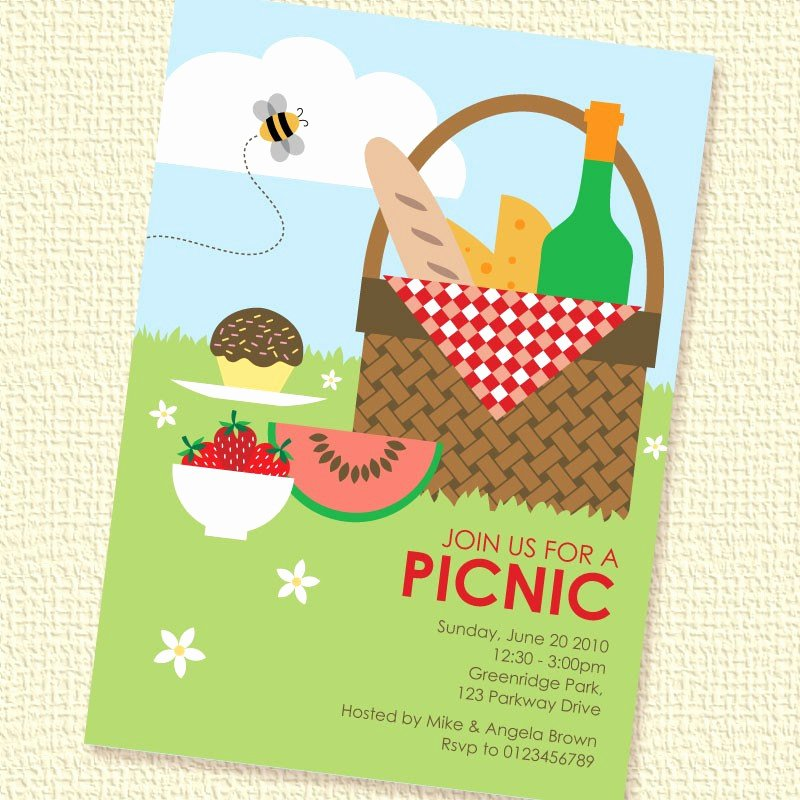 Free Picnic Invitation Template Fresh Picnic Basket Printable Custom Personalized Invitation