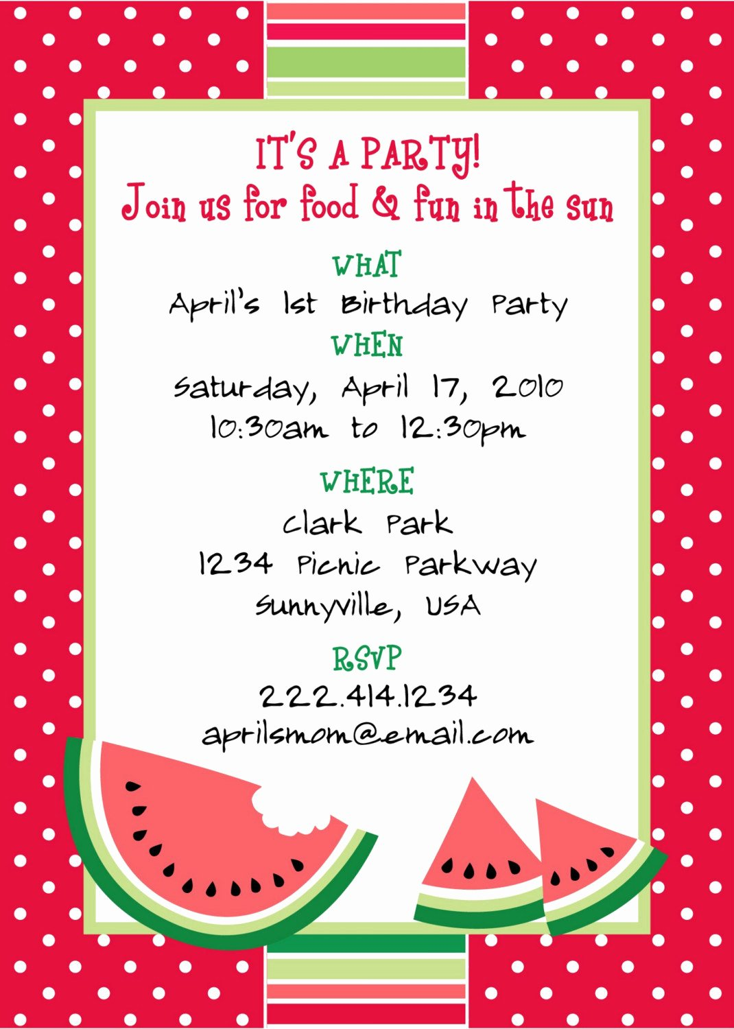 Free Picnic Invitation Template Unique Printable Watermelon themed Party Invitation