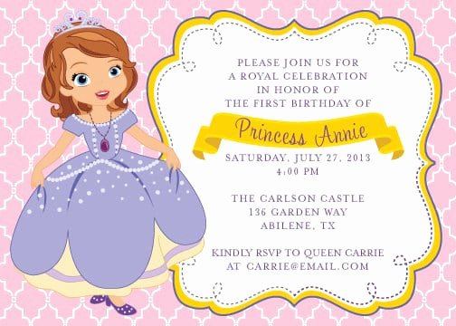 Free Princess Invitation Template Awesome Free Princess sofia Invitation Template