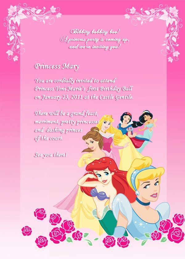Free Princess Invitation Template Fresh Disney Princess Birthday Invitation Free to and Edit