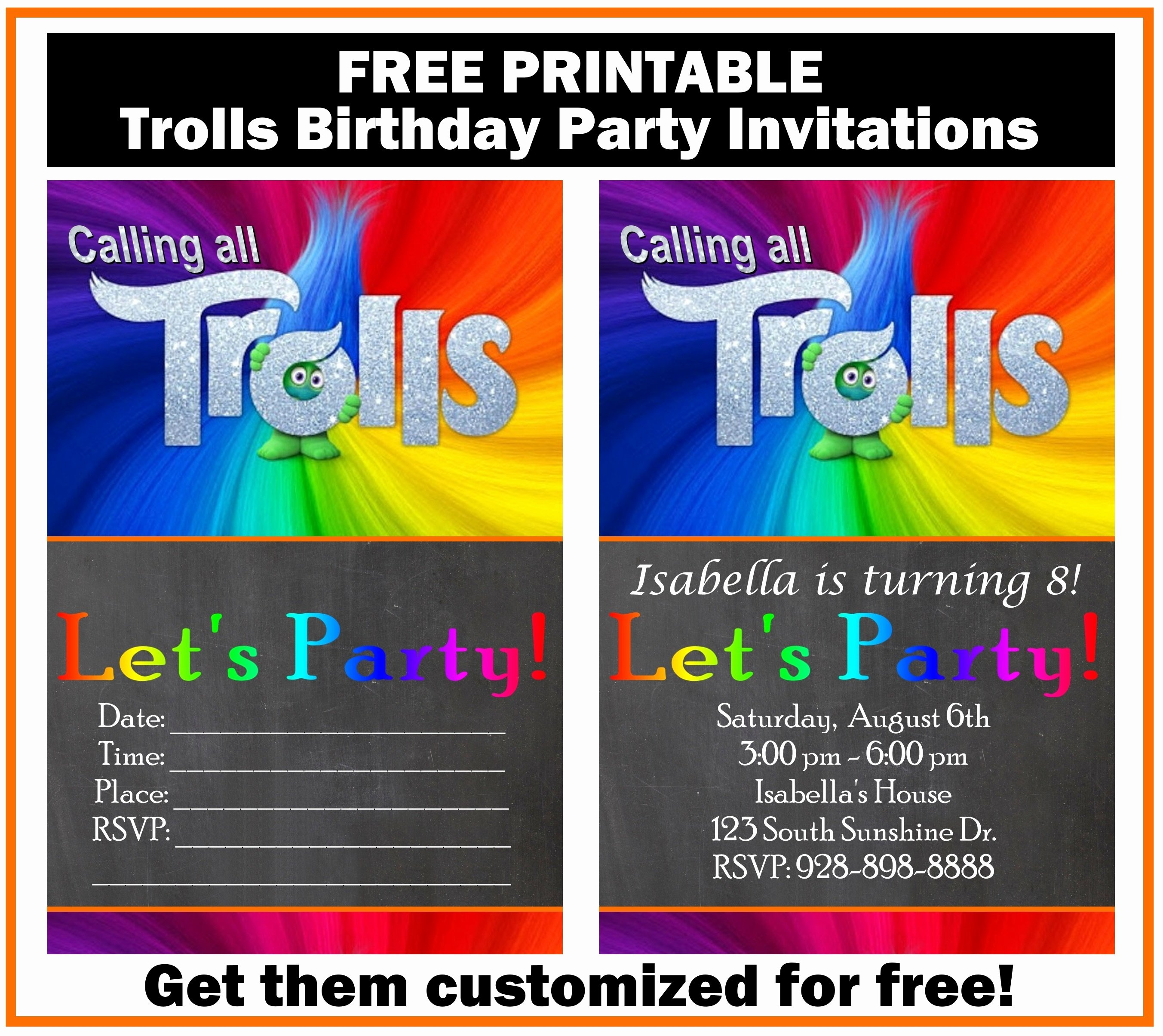 Free Printable Anniversary Invitations Fresh Free Trolls Birthday Party Invitation Printables Printables 4 Mom
