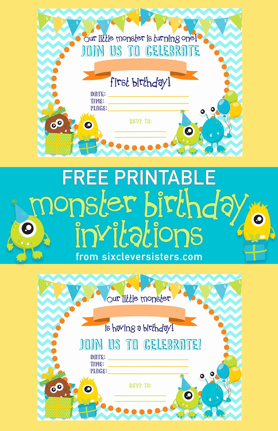 Free Printable Anniversary Invitations New Free Printable Monster Birthday Invitations Six Clever Sisters