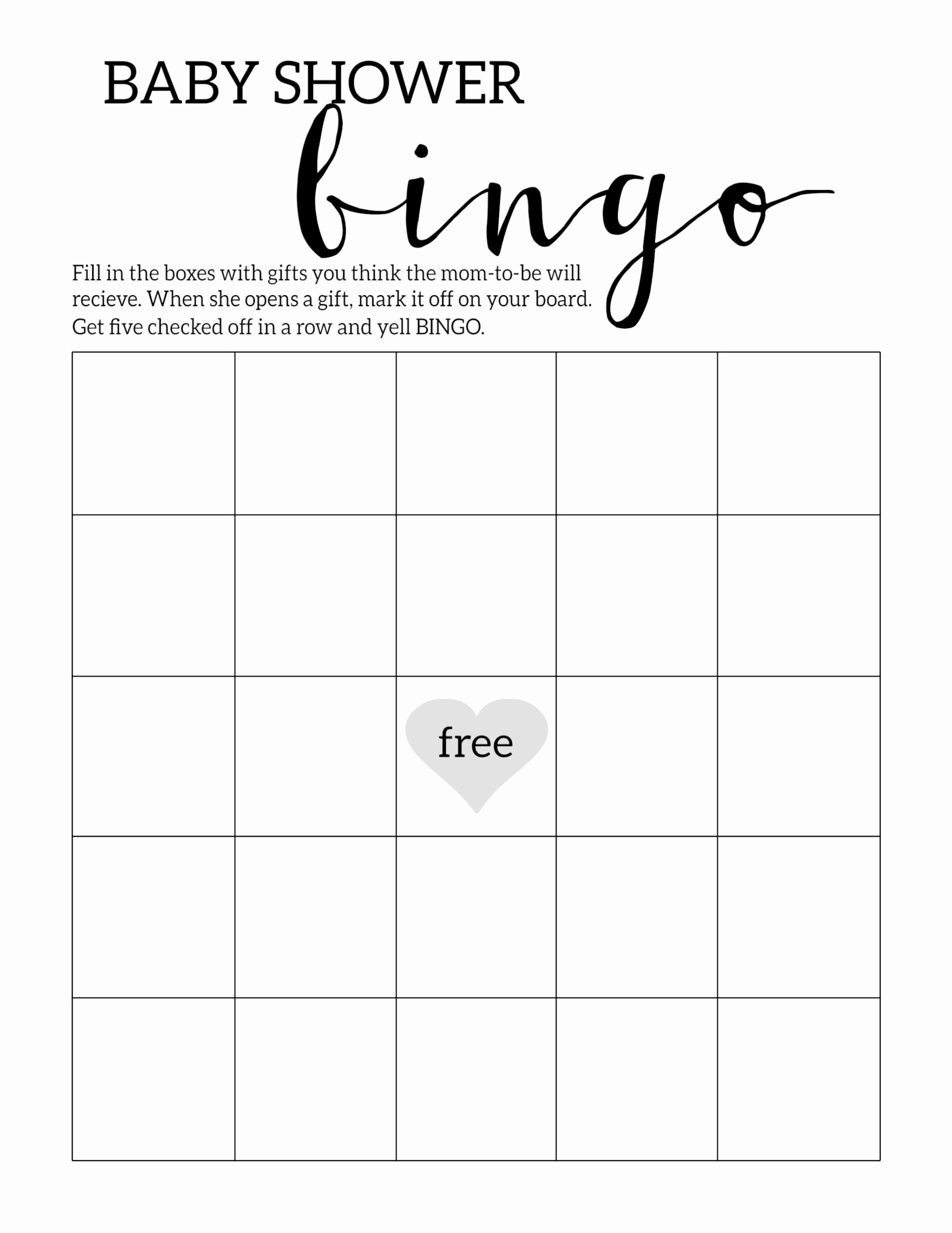 Free Printable Baby Shower Card Elegant Baby Shower Bingo Printable Cards Template Paper Trail