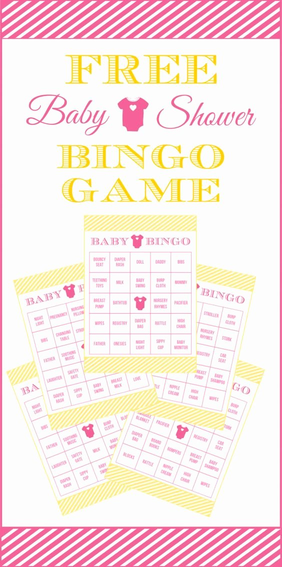 Free Printable Baby Shower Card Elegant Free Baby Shower Bingo Printable Cards for A Girl Baby