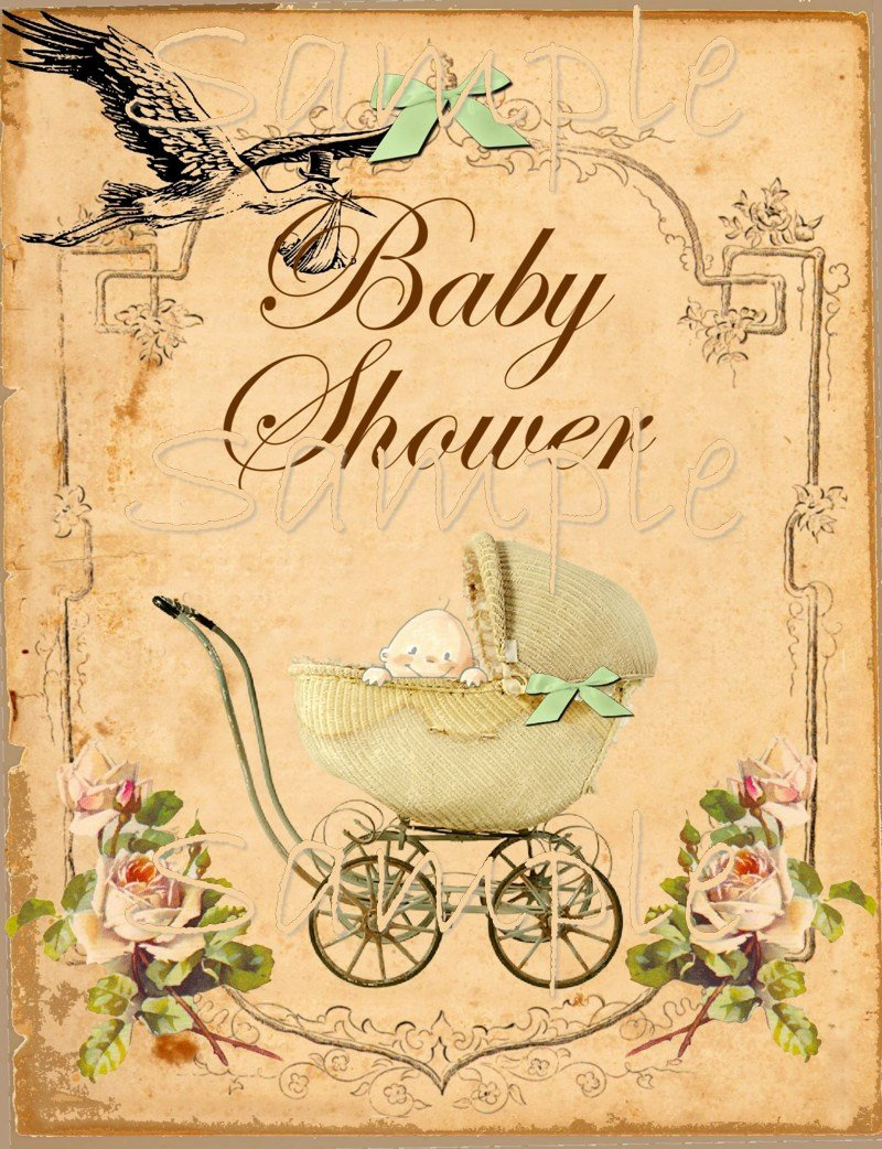 Free Printable Baby Shower Card Inspirational Vintage Baby Shower Printable Flat Card 5 X 7