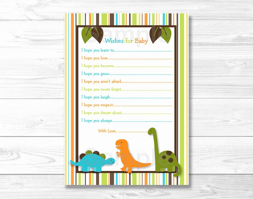 Free Printable Baby Shower Card New Dinosaur Friends Printable Baby Shower Wishes for Baby