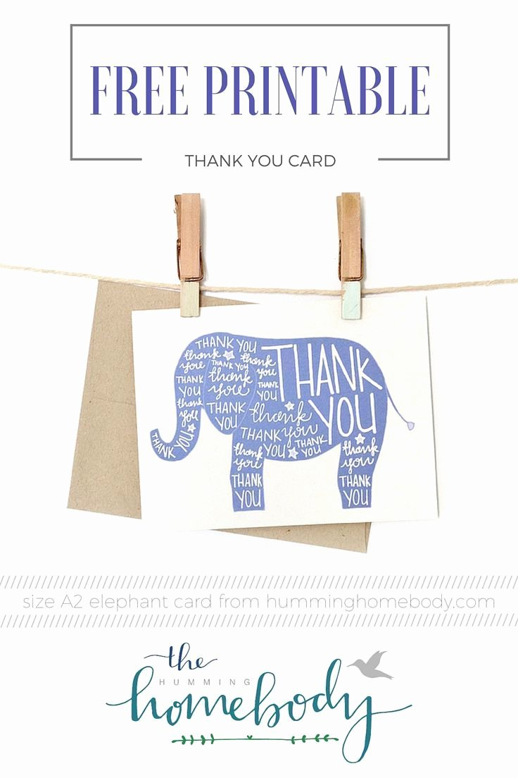 Free Printable Baby Shower Card New Printable Elephant Thank You Card