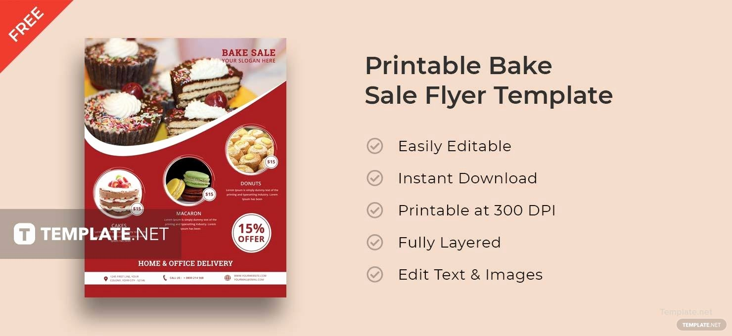 Free Printable Bake Sale Flyers Best Of Free Printable Bake Sale Flyer Template In Adobe Shop