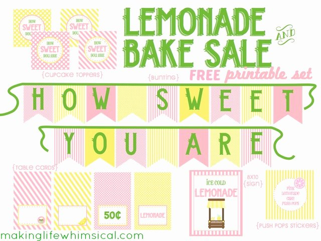 Free Printable Bake Sale Flyers Luxury Freebie Friday Lemonade Stand Free Printables