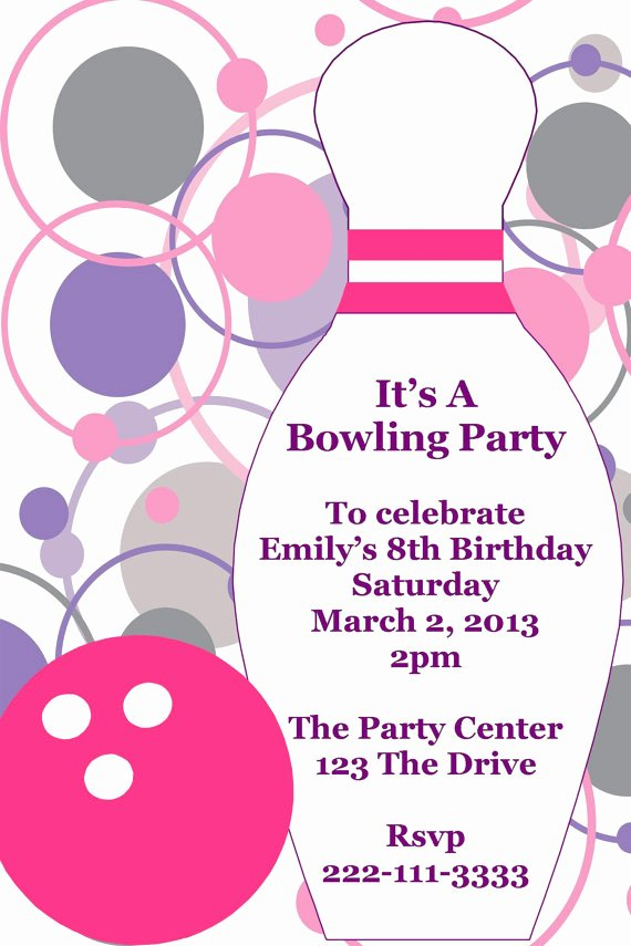 Free Printable Bowling Party Invitations Awesome Girl S Bowling Printable Birthday Party Invitation Certificate Ideas Pinterest