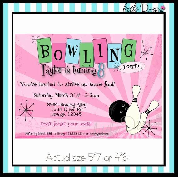 Free Printable Bowling Party Invitations Beautiful Bowling Birthday Invitation Custom Wording and by Littledeevas