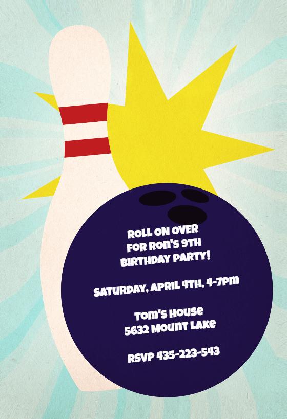 Free Printable Bowling Party Invitations Elegant Bowling Birthday Party Birthday Invitation Template Free