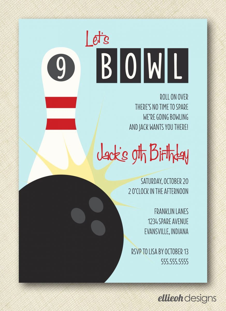 Free Printable Bowling Party Invitations Elegant Bowling Birthday Party Invitations Free Templates