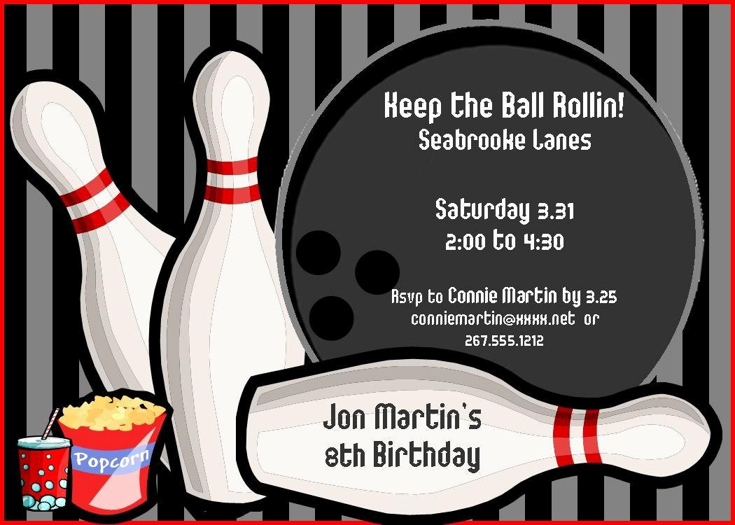 Free Printable Bowling Party Invitations Inspirational Bowling Birthday Party Invitations Free Templates