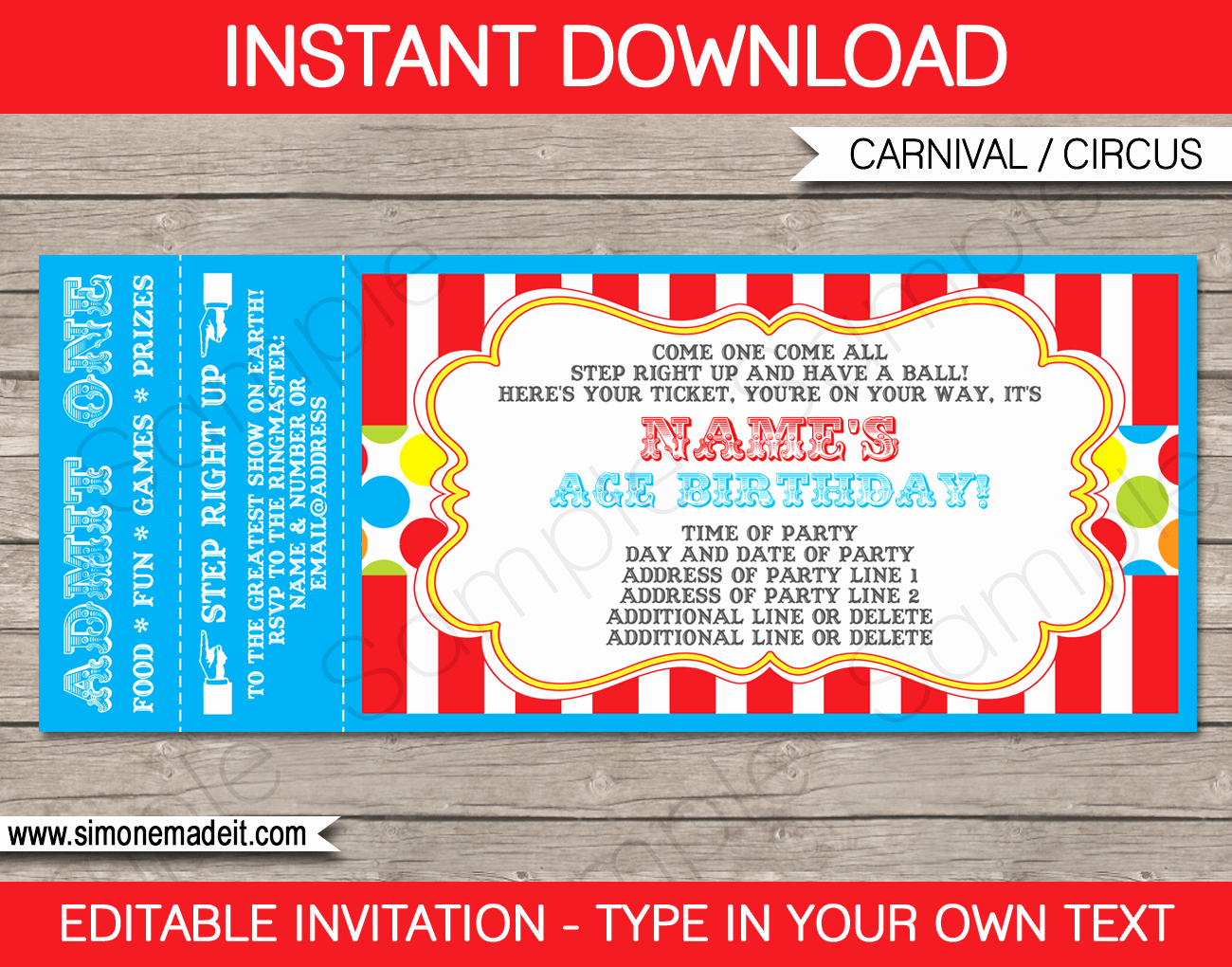 Free Printable Carnival Invitations Awesome Carnival Party Ticket Invitation Template