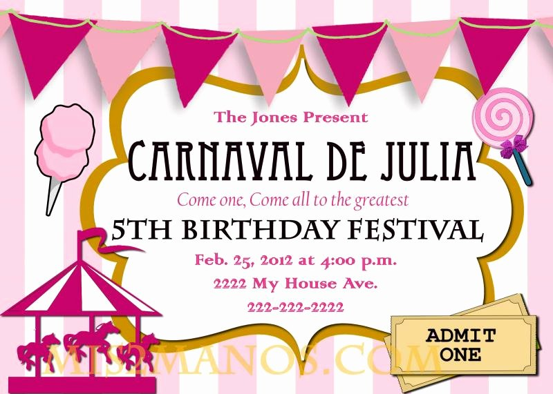 carnival birthday party invitation diy printable pink custom order carousel party