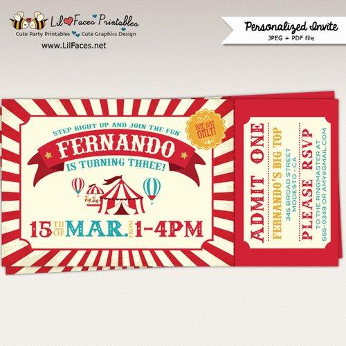 Free Printable Carnival Invitations Beautiful Vintage Circus Birthday Party Ticket Invitation Printable Invitation