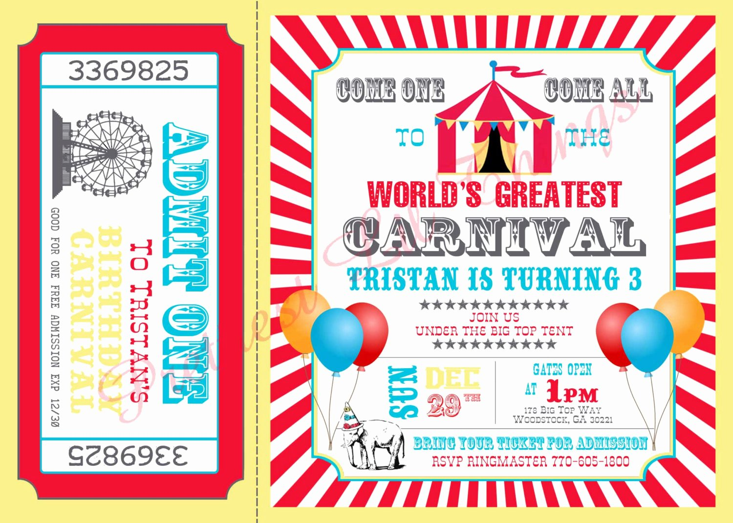 Free Printable Carnival Invitations Best Of Carnival Circus Girl or Boy Birthday Party by Prettiestlilthings