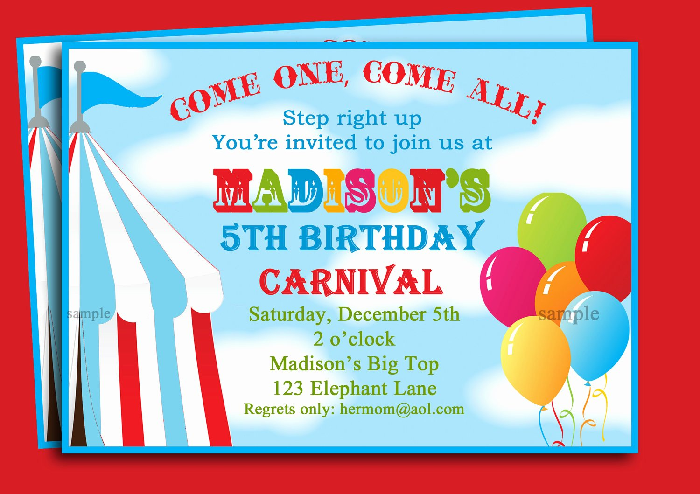 Free Printable Carnival Invitations New Free Printable Carnival Birthday Party Invitations Free Invitation Templates Drevio