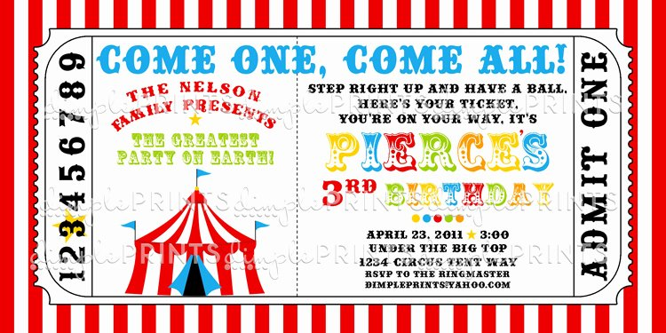 Free Printable Carnival Invitations Unique Circus Tent Ticket Printable Invite Dimple Prints Shop