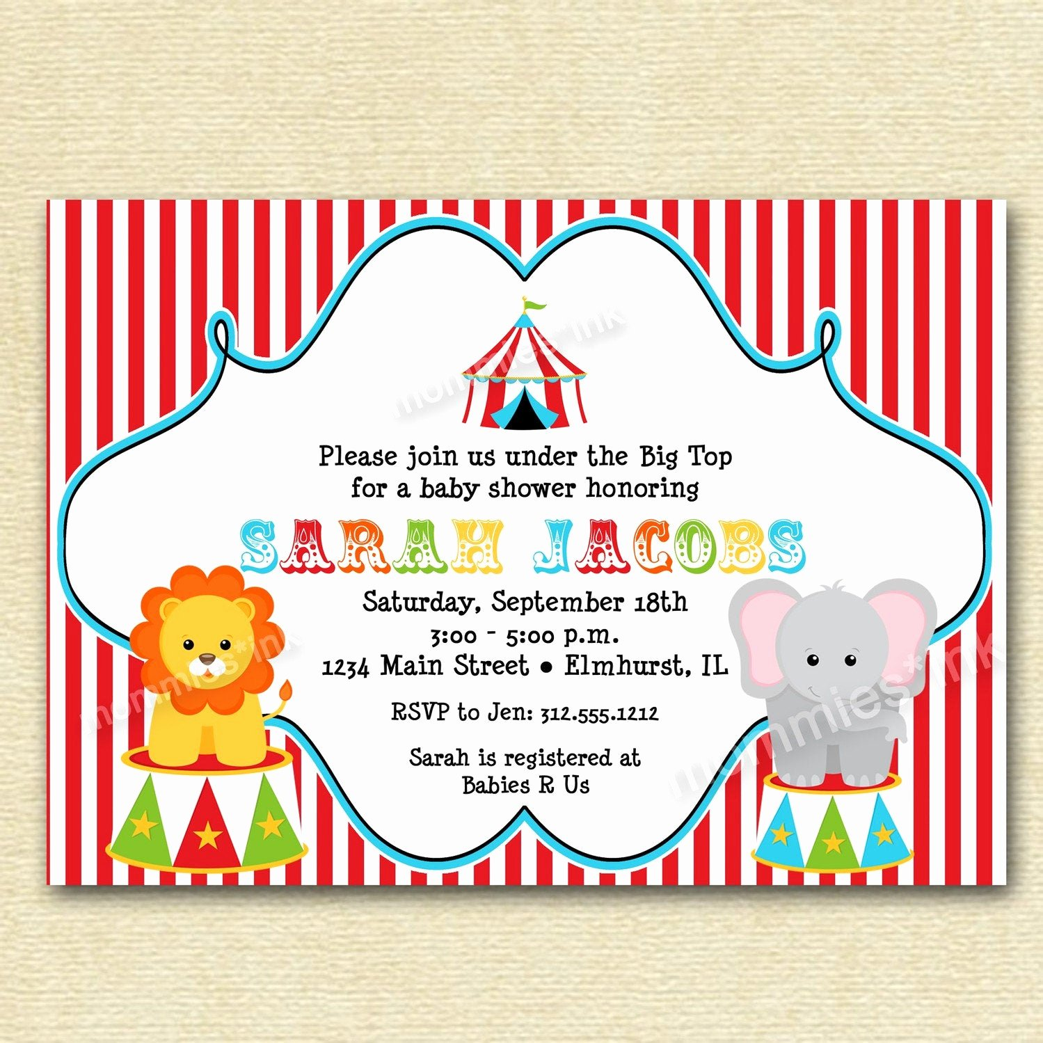 Free Printable Carnival themed Invitations Awesome Circus Big top Baby Shower Invitation Printable by Mommiesink