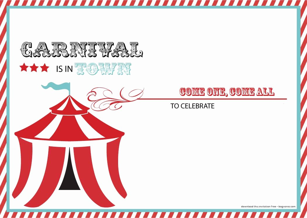 Free Printable Carnival themed Invitations Elegant Free Carnival Birthday Invitations – Free Printable