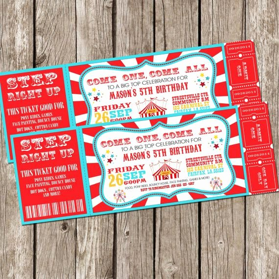 Free Printable Carnival themed Invitations Lovely Vintage Circus Carnival Invitation Ticket Invitation Carnival Circus Birthday Party Diy