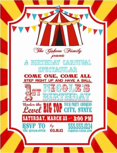 Free Printable Carnival themed Invitations Luxury Circus Carnival Birthday Party Ticket Invitations Clown