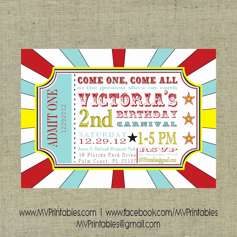 Free Printable Carnival themed Invitations New Carnival themed Custom Digital Printable Invitation On Storenvy