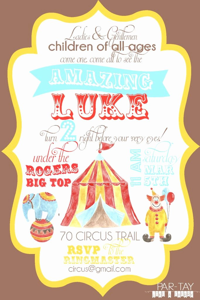 Free Printable Carnival themed Invitations Unique Free Circus Birthday Invitation