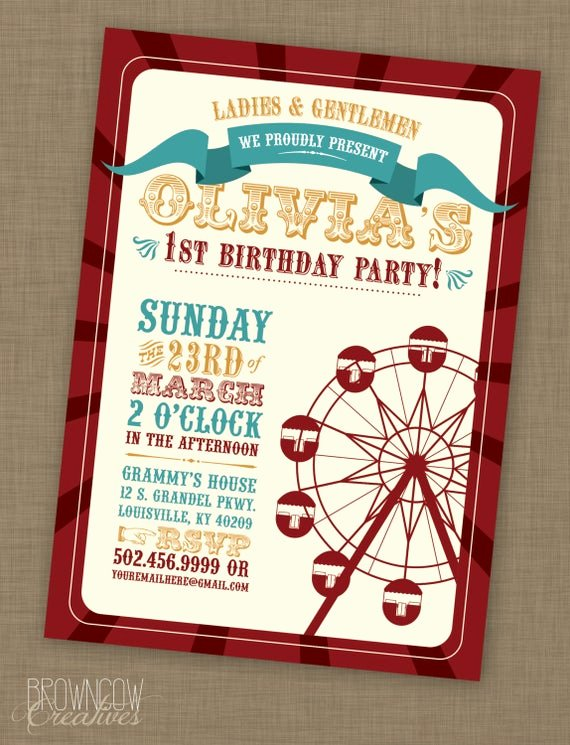 Free Printable Carnival themed Invitations Unique Printable Vintage Carnival Birthday Party Invitation