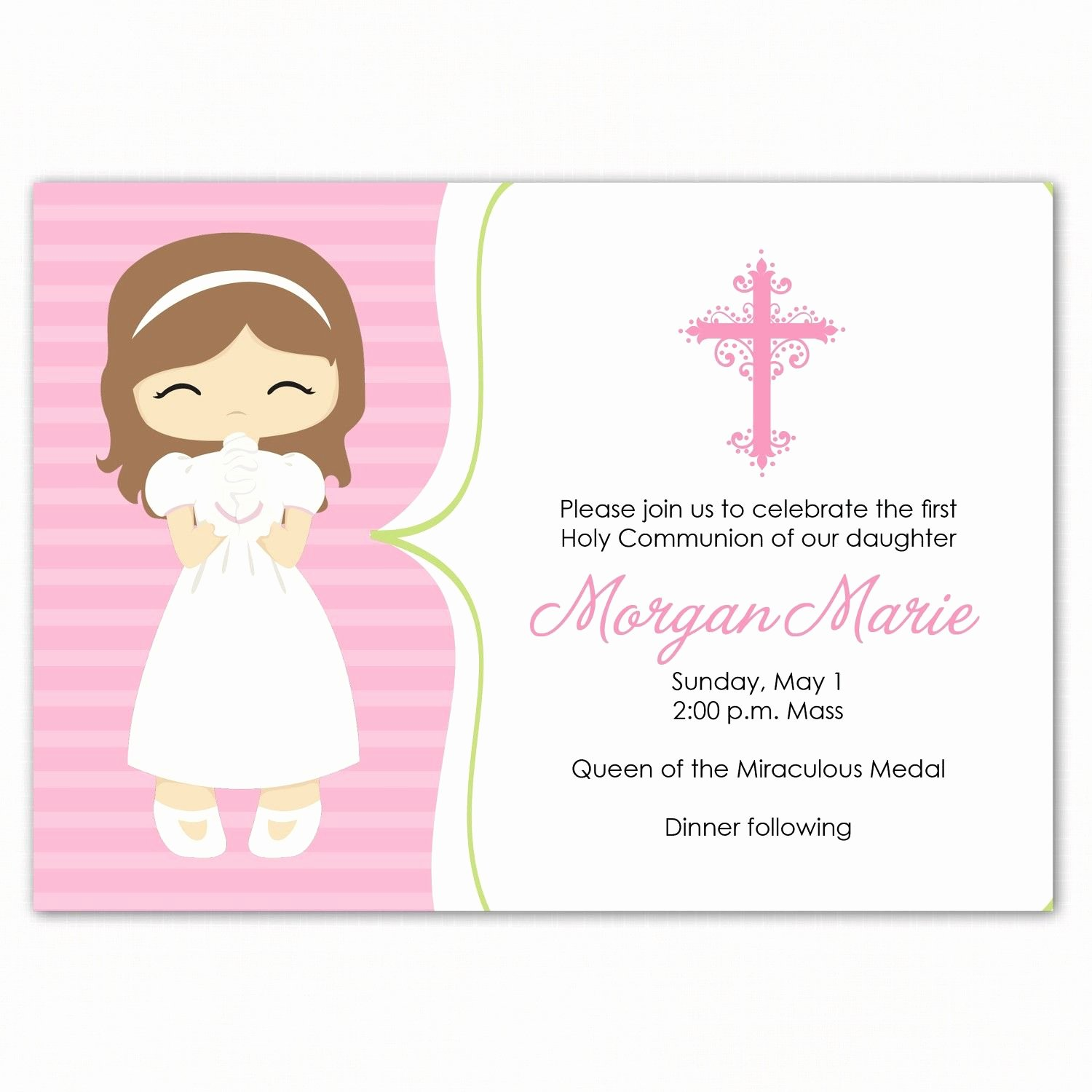 Free Printable Confirmation Cards Best Of First Munion Invitation First Munion Girl Pink First Munion Invitation