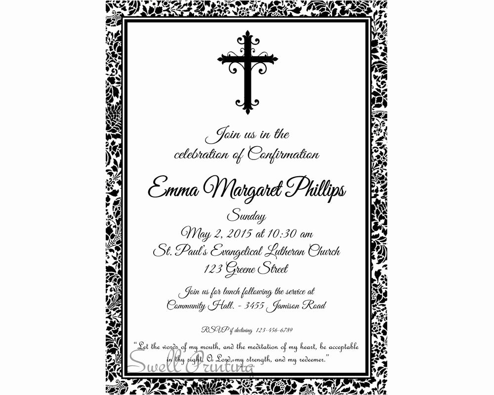 Free Printable Confirmation Cards Fresh Damask Confirmation Invitation Confirmation Invitation