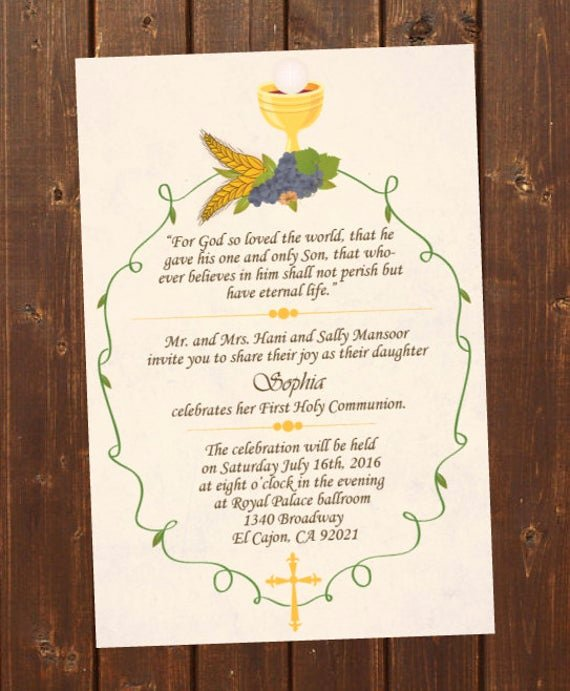 Free Printable Confirmation Cards Lovely Printable First Holy Munion Invitation E Card First Holy