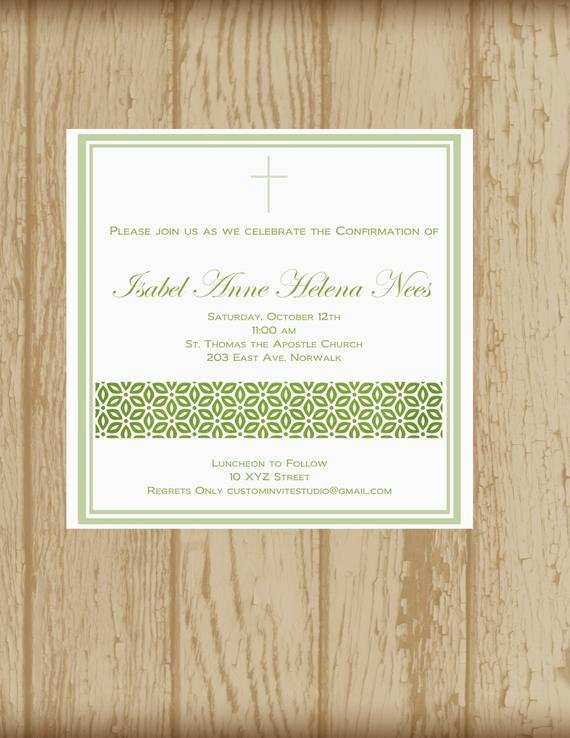 Free Printable Confirmation Cards Luxury Confirmation Invitation Printable by Custominvitestudio On Etsy