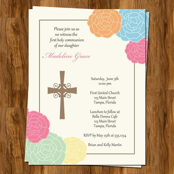 Free Printable Confirmation Cards Unique Religious Invitations Baptism Munion Confirmation Cross Floral Pink Blue orange