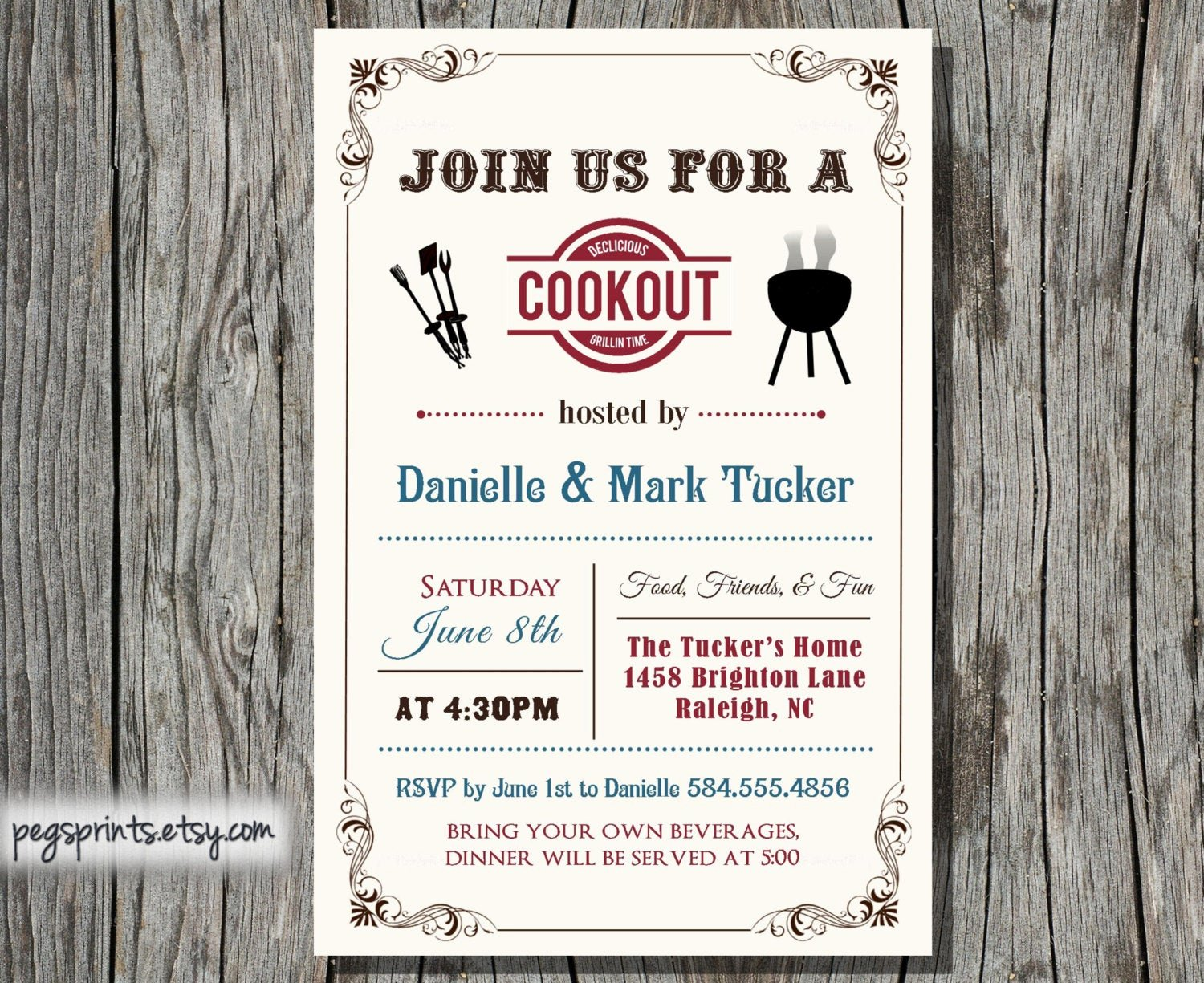 Free Printable Cookout Invitations Awesome Cookout Invitation Summer Family Bbq Printable by Pegsprints