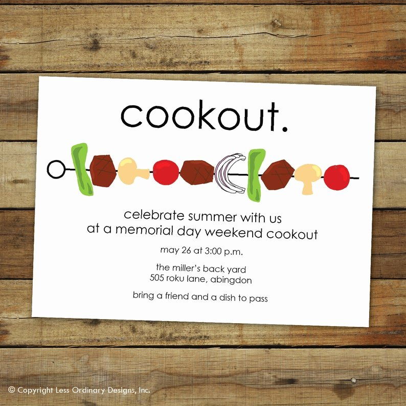 Free Printable Cookout Invitations Beautiful Bbq Invitation Cookout Invitation Shish Kabob Party