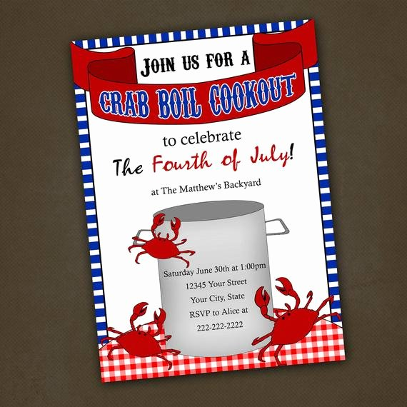 Free Printable Cookout Invitations Best Of Items Similar to Crab Boil Cookout Invitations Printable