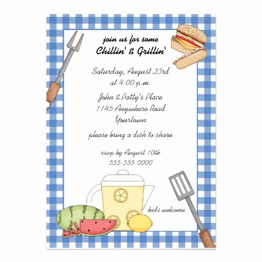 "Free Printable Cookout Invitations Lovely Summer Cookout Invitation 5"" X 7"" Invitation Card"