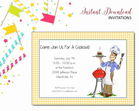 Free Printable Cookout Invitations Luxury Grill Cookout Invitation Picnic Printable Editable Digital